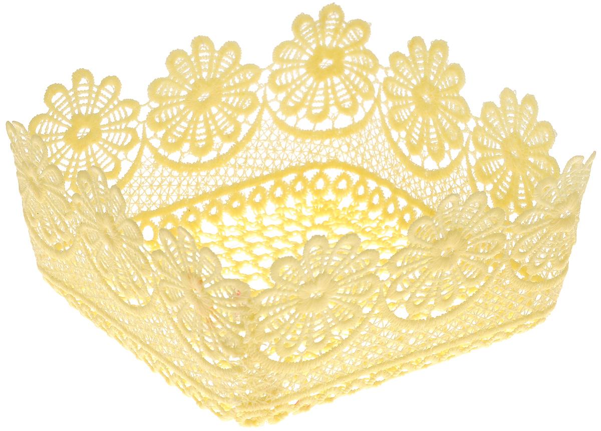 Корзина декоративная Home Queen Ромашки, цвет: желтый, 16 х 16 х 8 см54 009312Декоративная ажурная корзина Home Queen Ромашки, выполненная из полиэстера, предназначена для хранения различных мелочей и аксессуаров, также отлично подойдет для пасхальных яиц и кулича. Изделие имеет жесткую форму.Такая корзина станет оригинальным украшением интерьера к Пасхе.