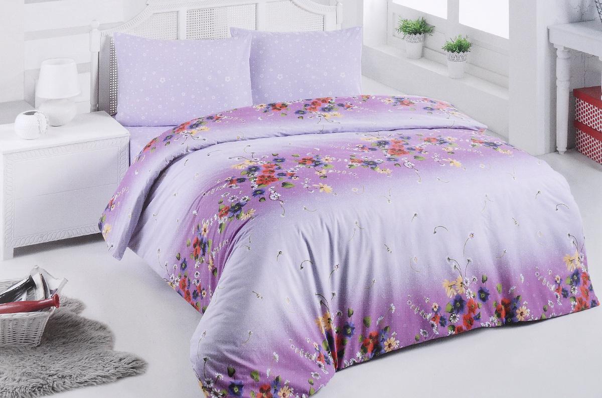 Комплект белья Brielle, 1,5-спальный, наволочка 50х70, цвет: сиреневый, фуксия (305 V2)K100Роскошный комплект постельного белья Brielle выполнен из натурального ранфорса (100% хлопка) и украшен оригинальным рисунком. Комплект состоит из пододеяльника, простыни и наволочки. Ранфорс - это новая современная гипоаллергенная ткань из натуральных хлопковых волокон, которая прекрасно впитывает влагу, очень проста в уходе, а за счет высокой прочности способна выдерживать большое количество стирок. Высочайшее качество материала гарантирует безопасность.Доверьте заботу о качестве вашего сна высококачественному натуральному материалу.