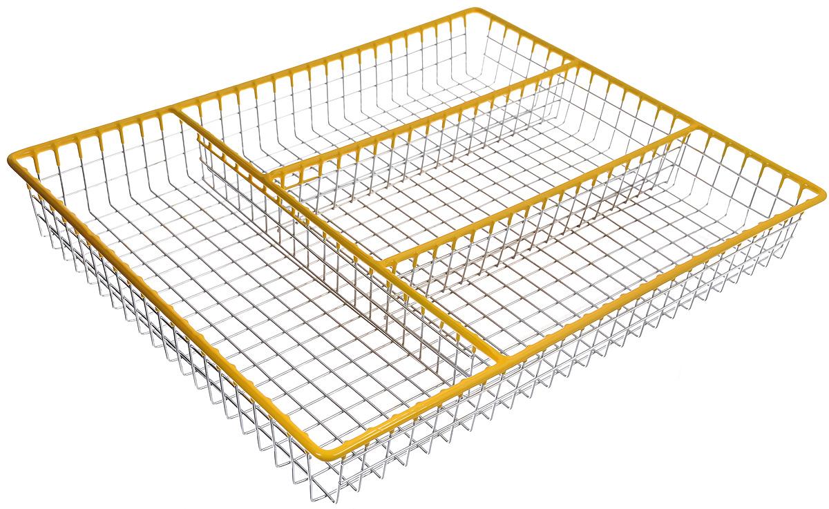 Лоток для столовых приборов Regent Inox Linea Trina, 32,5 х 26,5 х 4,5 см93-TR-05-06Лоток для столовых приборов Regent Inox Linea Trina изготовлен из высококачественной хромированной стали с накладками из мягкого пластика. Изделие предназначено для компактного хранения столовых приборов, ножей и кухонных принадлежностей. Лоток имеет 4 отделения.Размер лотка: 32,5 х 26,5 х 4,5 см.Размер отделений: 22,5 х 8,5 см, 25,5 х 9 см.