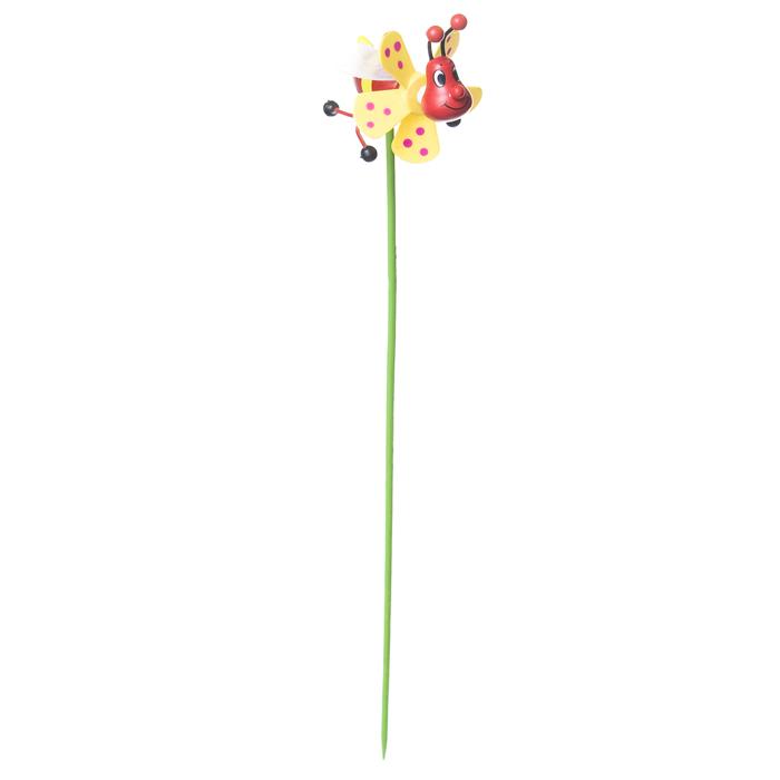 Декоративная фигура-вертушка Village People Полосатый жук, цвет: желтый, 7,5 х 5 х 5,8 (30) см. 68461_368461-3Ветряная фигурка-вертушка Village People Полосатый жук, изготовленная из бамбука и пластика, это не только игрушка, но и замечательный способ отпугнуть птиц с грядок. Изделие выполнено в виде жука и располагается на палочке. Яркий дизайн изделия оживит ландшафт сада или огорода.