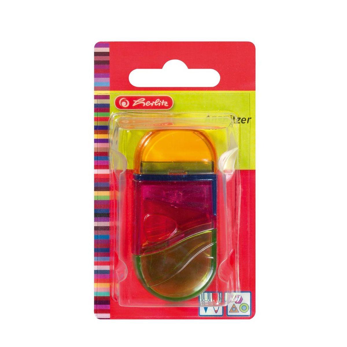 Herlitz Точилка с контейнером и ластиком цвет оранжевый розовый зеленый2250519 K-L03 SoftieFlexТочилка Herlitz - качественная простая точилка с контейнером для стружек и ластиком. Выполнена в прозрачном пластиковом корпусе и предназначена для заточки карандашей диаметром 8 мм. Металлическое лезвие высокого качества быстро заточит любой карандаш. Ластик изготовлен из термопластичного каучука и хорошо стирает линии.Такой набор от Herlitz будет помощником для вас в любом проектном или учебном деле.