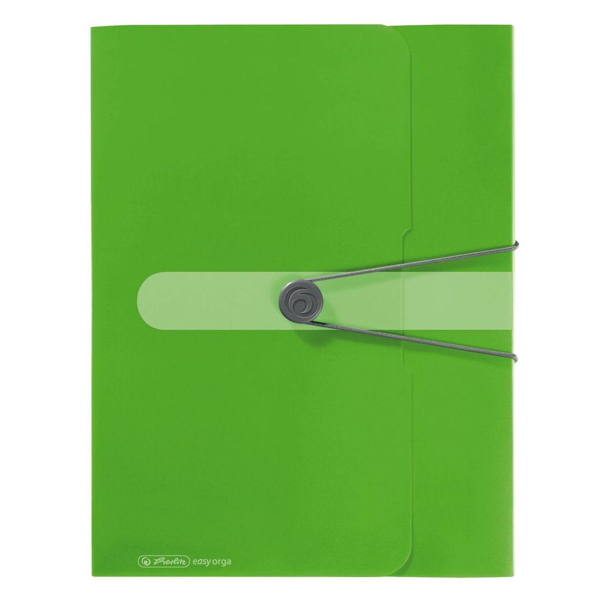 Herlitz Папка-конверт Easy orga to go цвет зеленый80036_серыйПапка-конверт Herlitz Easy orga to go станет вашим верным помощником дома и в офисе.Это удобный и функциональный инструмент, предназначенный для хранения и транспортировки больших объемов рабочих бумаг и документов формата А4. Папка изготовлена из износостойкого пластика и качественного полипропилена. Состоит из одного вместительного отделения. Закрывается папка при помощи резинки, а на корешке папки есть ярлычок.Папка - это незаменимый атрибут для любого студента, школьника или офисного работника. Такая папка надежно сохранит ваши бумаги и сбережет их от повреждений, пыли и влаги.