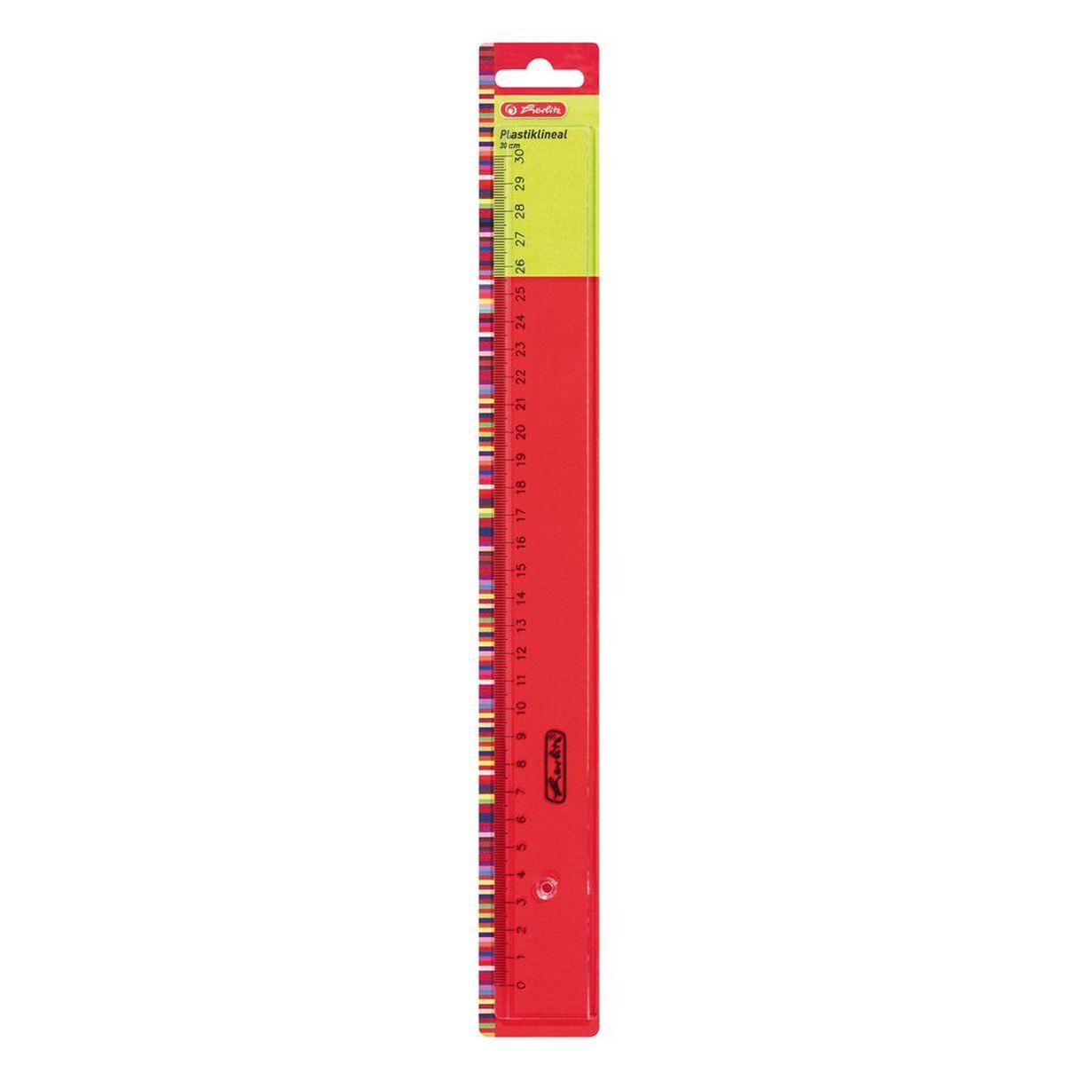 Herlitz Линейка 30 см цвет прозрачный730396Линейка от Herlitz с делениями на 30 см выполнена из прозрачного пластика и обладает четкой миллиметровой шкалой делений.Линейка удобна для измерения длины и черчения, устойчива к деформациям.Линейка от Herlitz идеально подойдет для любого школьника или офисного работника.