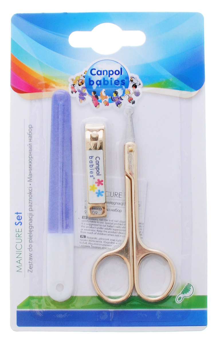 Canpol Babies Маникюрный набор цвет фиолетовый9/809_фиолетовыйМаникюрный набор Canpol Babies подходит для регулярного, быстрого и комфортного ухода за ногтями детей, особенно новорожденных.В набор входят ножницы с закругленными кончиками, щипчики и пилочка для ногтей. Безопасные закругленные кончики ножниц не допускают порезов и не поранят малыша.Чтобы снизить риск порезов, рекомендуется стричь ребенку ногти, когда он спит.Размер ножниц: 9 см х 4 см.Размер щипчиков: 4,5 см х 0,9 см.Размер пилочки: 10 см х 1 см.