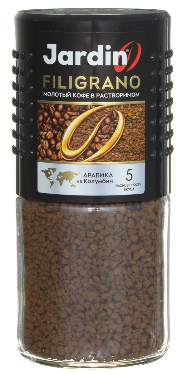 Jardin Filigrano кофе растворимый (стеклянная банка), 95 г0120710100% Арабика из Колумбии объединяет сублимированный и молотый кофе в бленде Jardin Filigrano. Каждая гранула растворимого напитка содержит точно выверенную порцию молотого кофе. Этот продукт позволяет соединить великолепный вкус свежесваренного кофе и легкость приготовления растворимого.