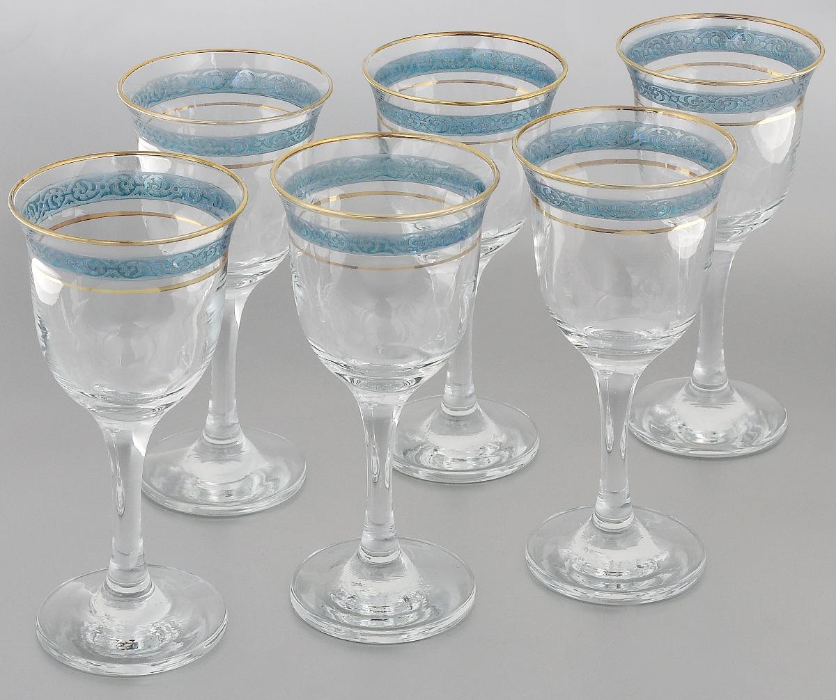 Набор фужеров Гусь-Хрустальный Махараджа, цвет: прозрачный, золотистый, синий, 240 мл, 6 штVT-1520(SR)Набор Гусь-Хрустальный Махараджа состоит из 6 фужеров на изящных длинных ножках, изготовленных из высококачественного натрий-кальций-силикатного стекла. Изделия предназначены для подачи холодных напитков, вина и многого другого. Фужеры оформлены красивым зеркальным покрытием с матовым орнаментом. Такой набор прекрасно дополнит праздничный стол и станет желанным подарком в любом доме. Разрешается мыть в посудомоечной машине. Диаметр фужера (по верхнему краю): 8,5 см. Высота фужера: 18 см.
