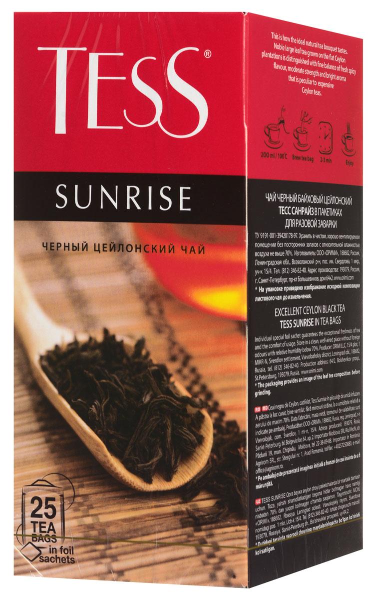 Tess Sunrise черный чай в пакетиках, 25 шт101246Черный байховый цейлонский чай Tess Sunrise отличается необыкновенно насыщенным ярким вкусом и тонким, очень приятным ароматом, свойственным цейлонским чаям.