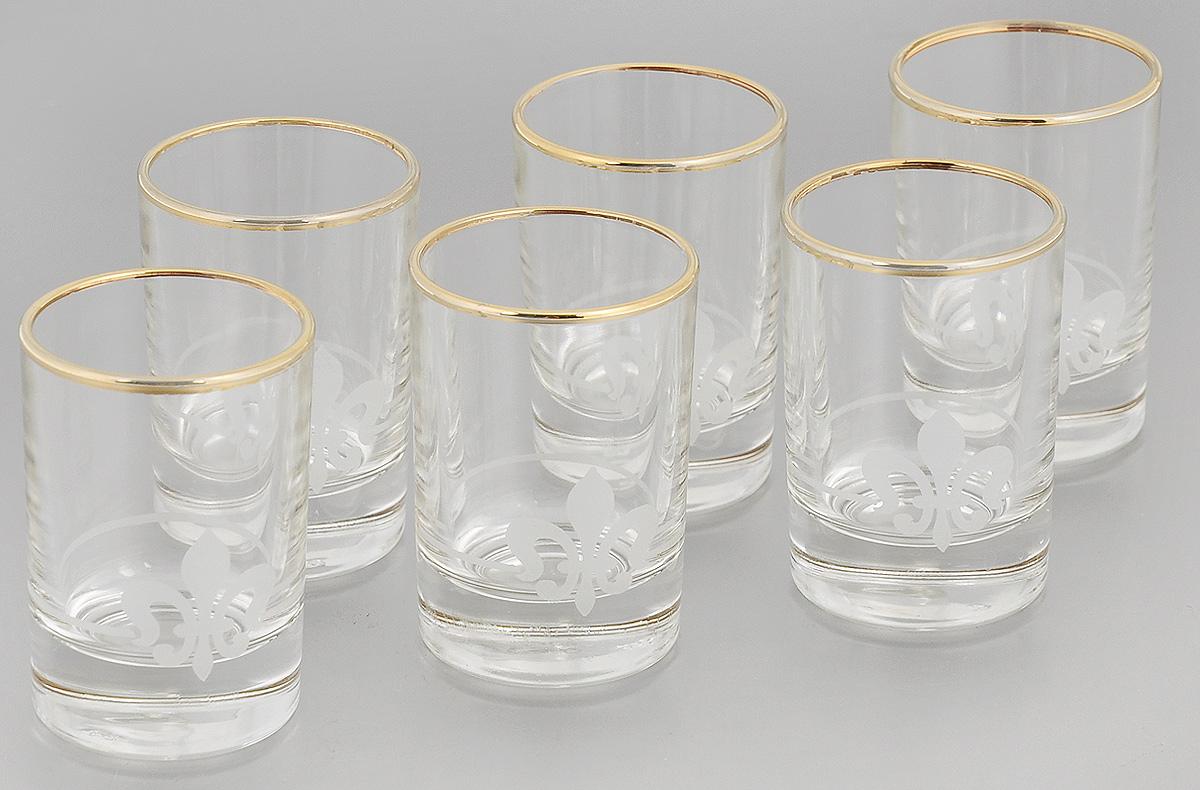 Набор стопок Гусь-Хрустальный Королевская лилия, 60 мл, 6 шт4630003364517Набор Гусь-Хрустальный Королевская лилия состоит из 6 стопок, изготовленных из высококачественного натрий-кальций-силикатного стекла. Изделия оформлены красивым зеркальным покрытием, оригинальной окантовкой и матовым орнаментом. Такой набор прекрасно дополнит праздничный стол и станет желанным подарком в любом доме. Разрешается мыть в посудомоечной машине. Диаметр стопки (по верхнему краю): 4,5 см. Высота стопки: 7 см.
