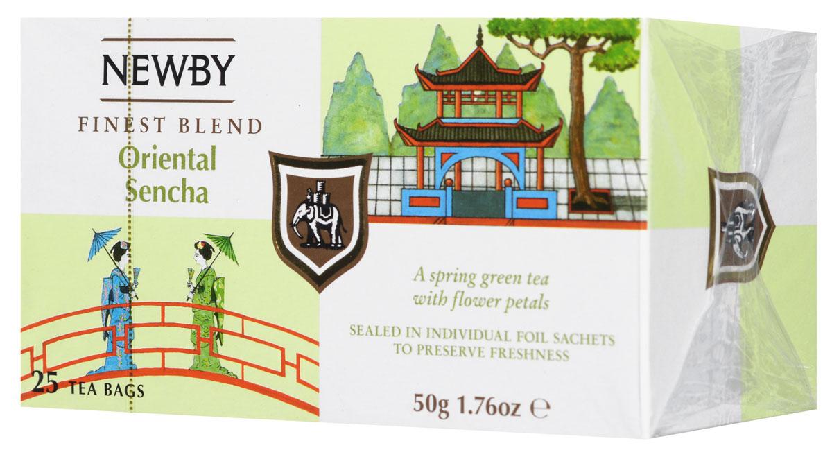 Newby Oriental Sencha зеленый чай с лепестками цветов в пакетиках, 25 шт0120710Newby Oriental Sencha - элитный зеленый чай с отборными лепестками цветов. Красивый цвет настоя приятен для глаз, а изысканные фруктово-цветочные ароматы стали прекрасным дополнением рисового вкуса чая Сенча.