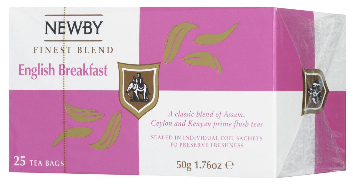 Newby English Breakfast черный чай в пакетиках, 25 штPS504Newby English Breakfast - традиционный купаж черных сортов чая из Ассама, Цейлона и Кении. Чашка насыщенного янтарного цвета и богатого вкуса с цитрусовыми нотками и пряным послевкусием идеальна для начала дня.