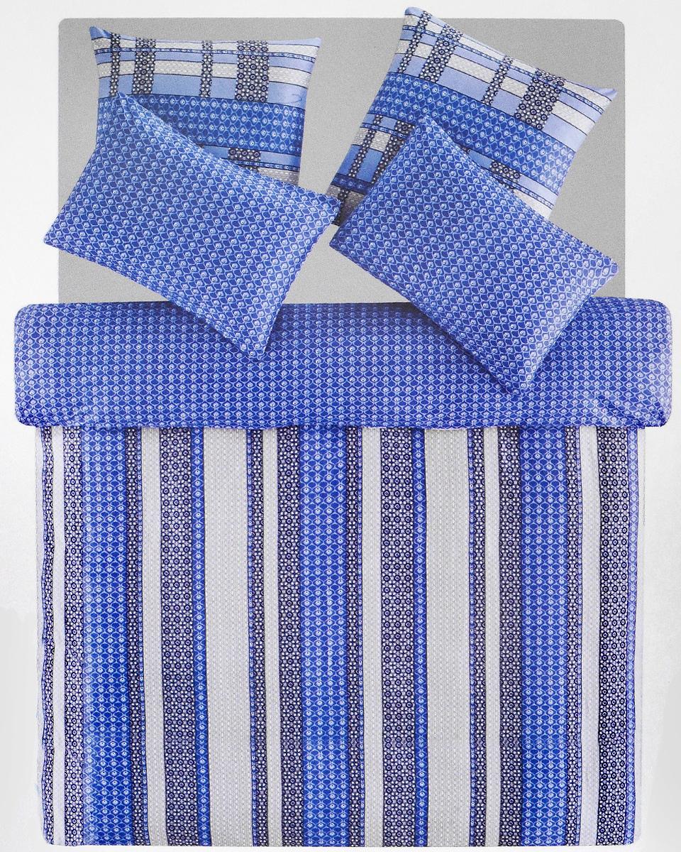 Комплект белья TAC Leiko, 2-спальный, наволочки 50х70, 70х70, цвет: голубой, синий, серыйK100Роскошный комплект постельного белья TAC Leiko выполнен из качественного плотного сатина с использованием фирменного нанесения Pano. Комплект состоит из пододеяльника, простыни и четырех наволочек. Пододеяльник застегивается на пуговицы.Сатин – гладкая и прочная ткань, которая своим блеском, легкостью и гладкостью похожа на шелк, но выгодно отличается от него в цене. Сатин практически не мнется, поэтому его можно не гладить. Ко всему прочему, он весьма практичен, так как хорошо переносит множественные стирки.Доверьте заботу о качестве вашего сна высококачественному натуральному материалу.