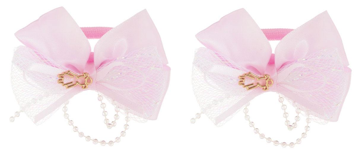 Babys Joy Резинка для волос цвет розовый 2 шт MN 143/272523WDРезинка для волос Babys Joy изготовлена из текстиля и дополнена милым бантиком, который оформлен бусинками и подвеской в форме девочки.Комплект содержит две резинки.Резинка для волос Babys Joy надежно зафиксирует волосы и подчеркнет красоту прически вашей маленькой принцессы.