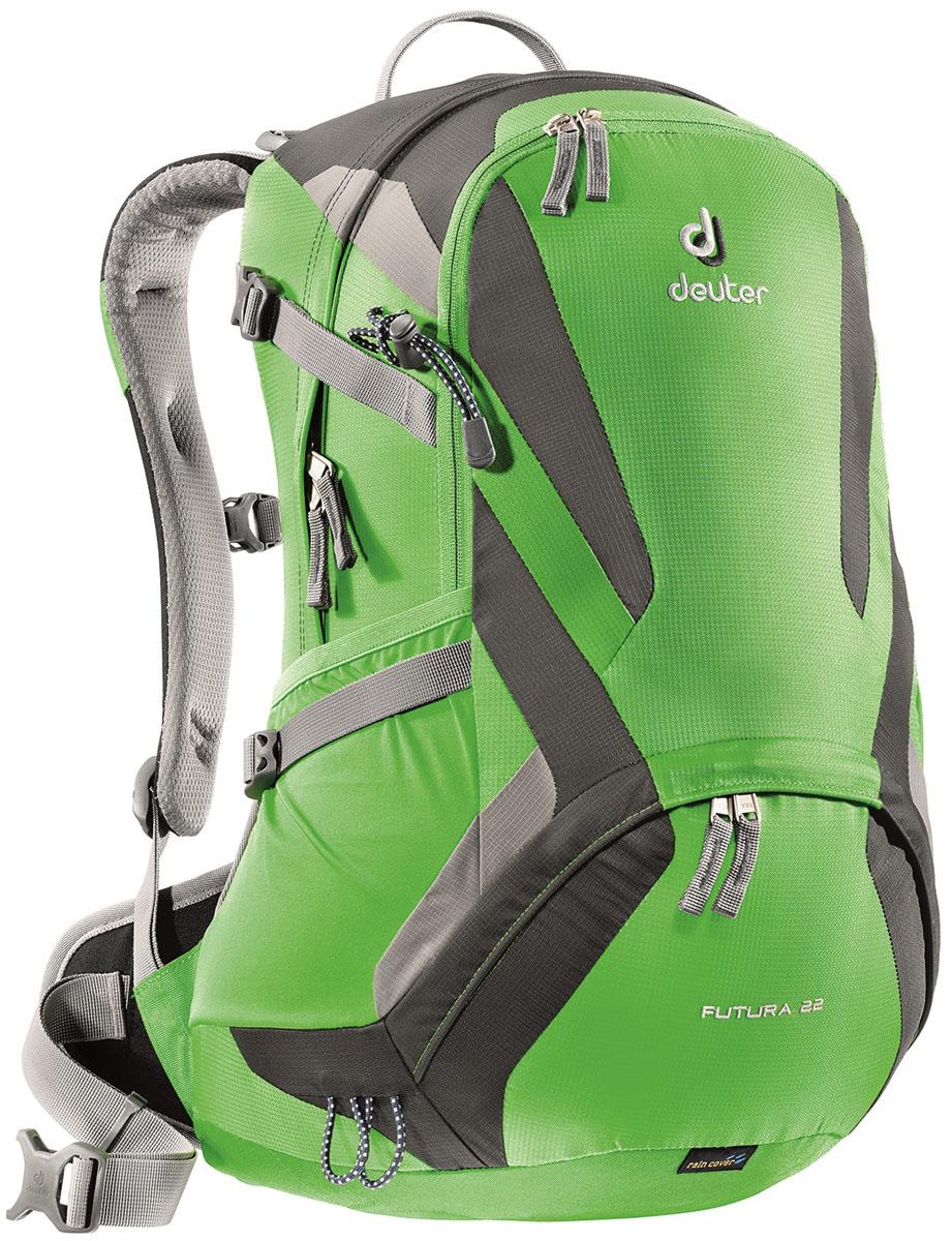 Рюкзак Deuter Futura, цвет: зеленый, 22 лRivaCase 7560 blueDeuter Futura это ведущая модель среди легких рюкзаков Deuter. Futura сохранил свои плавные обводы, но теперь их цвета изменились. Первоклассная функциональность сочетается с отличной системой вентиляции Aircomfort. Они отлично смотрятся и в офисе, и в магазине, и в однодневном походе.Особенности: - поясной ремень с двухслойными набедренными подушками; - плечевые лямки из двухслойного поропласта со стабилизирующими ремнями; - боковые компрессионные ремни для регулировки объема, практичный карман спереди, боковые сетчатые карманы, внутренний карман для мелких вещей; - отделение для мокрой одежды, петли для телескопических палок. Вес: 1260 г.Объем: 22 л.Размеры: 52 x 32 x 24 см.