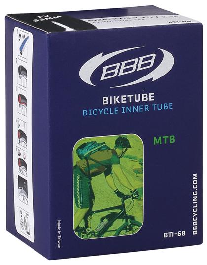 Камера велосипедная BBB, 2,1/2,35 FV, 48 мм, 27,5. BTI-68BTI-68Камера BBB изготовлена из долговечного резинового компаунда. Никаких швов, которые могут пропускать воздух. Достаточно большая для защиты от проколов и достаточно небольшая для снижения веса. Велосипедные камеры - обязательный атрибут каждого велосипедиста! Никогда не выезжайте из дома на велосипеде, не взяв с собой запасную велосипедную шину!Диаметр колеса: 27,5.Допустимый размер сечения покрышки: 2,1-2,35.Толщина стенки: 0,87 мм.