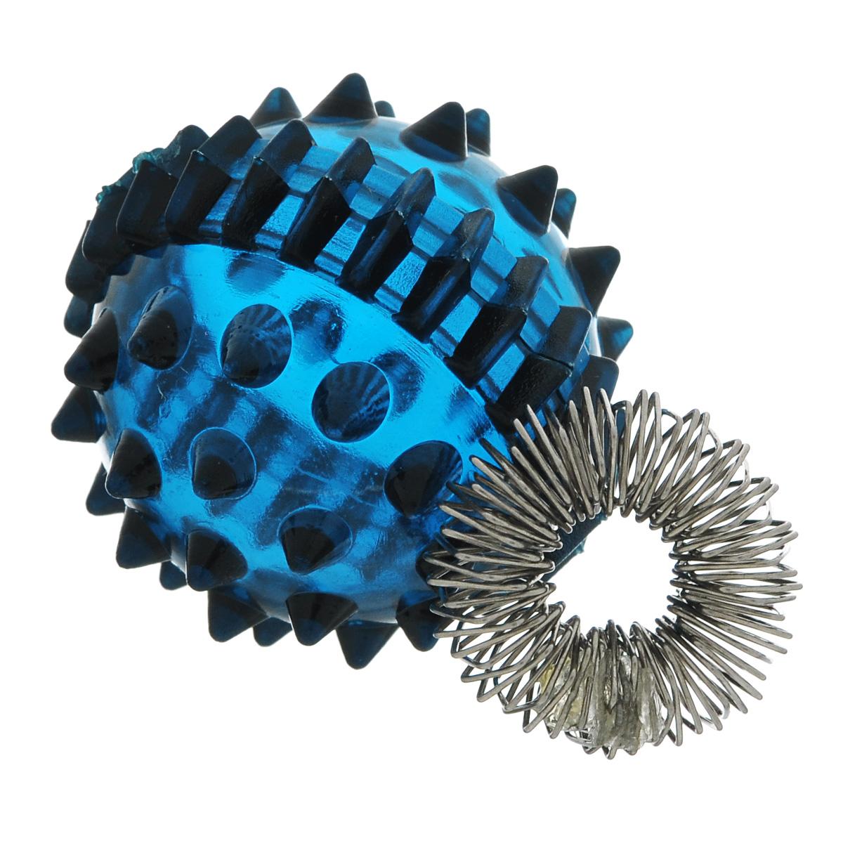 Массажер Дельтатерм Ежик, с пружинкой, цвет: синий203Массажер Дельтатерм Ежик легок и гигиеничен, прост в обращении и доступен в любой момент.Он разработан на основе медицинских знаний Древнего Востока. Известно, что управлять своим здоровьем можно при помощи стимуляции биологически активных точек на ладонях, пальцах рук и ступнях. Воздействуя на определенные точки с помощью специального шарика и эластичного пружинного кольца, можно регулировать работу всех внутренних органов. Массажер является эффективным средством при лечении гипертонии, атеросклероза. Его можно использовать для профилактики заболеваний центральной нервной системы, опорно-двигательного аппарата и щитовидной железы, а также для борьбы со стрессом и депрессией.В комплект входят массажер Ежик, эластичная пружина-кольцо и иллюстрированная брошюра.