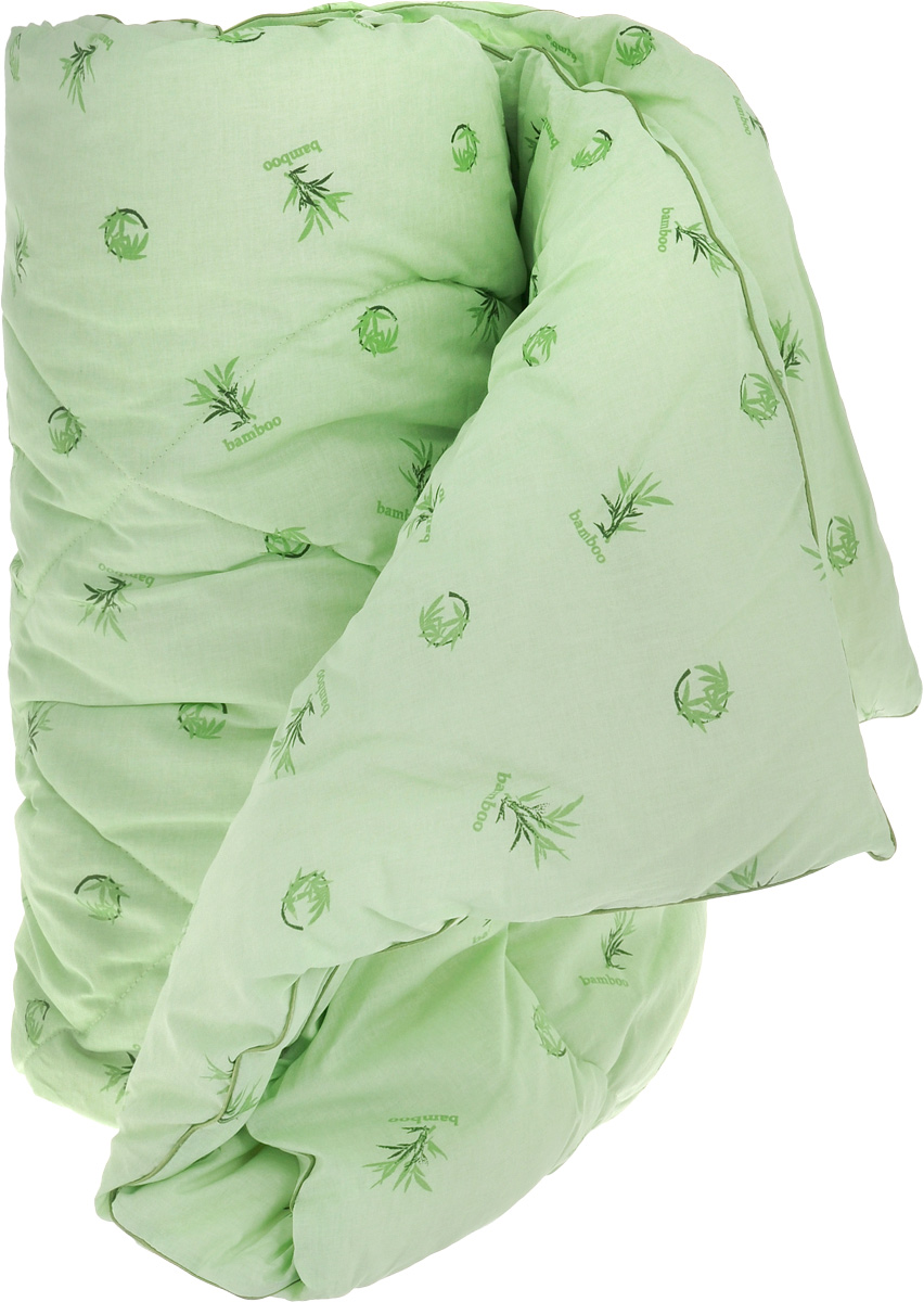 Одеяло теплое Легкие сны Бамбук, наполнитель: бамбуковое волокно, 140 х 205 см531-105Теплое одеяло Легкие сны Бамбук с наполнителем из бамбукового волокна расслабит, снимет усталость и подарит вам спокойный и здоровый сон. Волокно бамбука - это натуральный материал, добываемый из стеблей растения. Он обладает способностью быстро впитывать и испарять влагу, а также антибактериальными свойствами, что препятствует появлению пылевых клещей и болезнетворных бактерий. Изделия с наполнителем из бамбука легко пропускают воздух, создавая охлаждающий эффект, поэтому им нет равных в жару. Они отличаются превосходными дезодорирующими свойствами, мягкие, легкие, простые в уходе, гипоаллергенные и подходят абсолютно всем. Чехол одеяла, выполненный из 100% хлопка, придает одеялу дополнительную прочность и износостойкость. При регулярном проветривании и взбивании оно прослужит достаточно долго, сохраняя лучшие качества растительного наполнителя и создавая комфортные условия для отдыха.Одеяло простегано и окантовано. Стежка надежно удерживает наполнитель внутри и не позволяет ему скатываться. Можно стирать в стиральной машине при температуре 30°C. Плотность наполнителя: 300 г/м2.