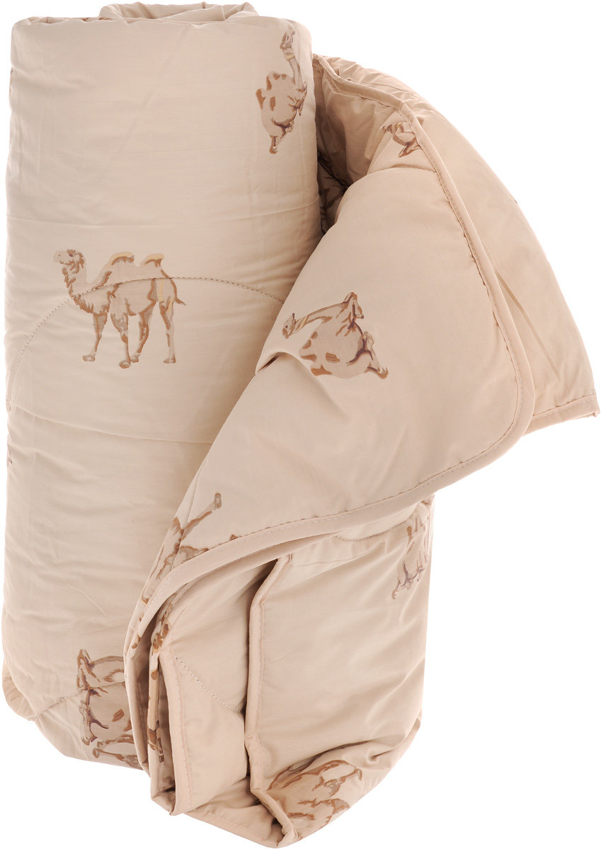 Одеяло легкое Легкие сны Верби, наполнитель: верблюжья шерсть, 200 х 220 см531-105Легкое одеяло размера евро Легкие сны Верби поможет расслабиться, снимет усталость и подарит вам спокойный и здоровый сон. Верблюжья шерсть, благодаря особенностям структуры волокон, обладает высокой гигроскопичностью и дает сухое тепло, полезное людям с заболеваниями опорно-двигательного аппарата. Содержащийся в ней ланолин обладает антибактериальными и антистатическими свойствами. Поэтому одеяла из верблюжьей шерсти не накапливают пыль и не вызывают аллергии. Они очень теплые и практичные. Чехол одеяла выполнен из прочного тика с рисунком в виде верблюдов. Это натуральная хлопчатобумажная ткань, отличающаяся высокой плотностью, она устойчива к проколам и разрывам, а также отличается долговечностью в использовании. Легкое одеяло Верби идеально подойдет для прохладных весенних и летних ночей. Небольшая толщина одеяла, чехол из натуральной хлопковой ткани обеспечивают хорошую циркуляцию воздуха, позволяя коже дышать и не допуская перегрева. Одеяло простегано и окантовано. Стежка надежно удерживает наполнитель внутри и не позволяет ему скатываться. Под нежным и мягким одеялом вам приснятся только сказочные сны. Рекомендуется химчистка. Плотность наполнителя: 200 г/м2.