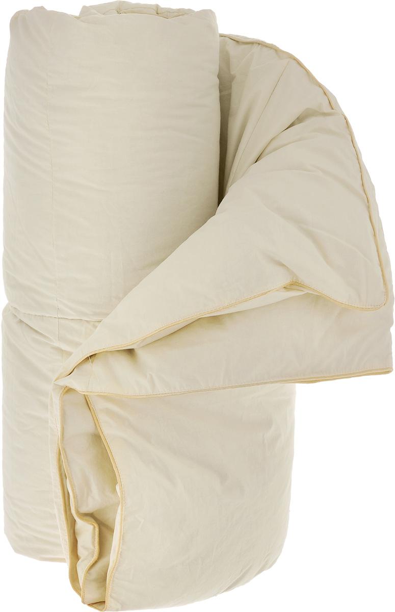 Одеяло теплое Легкие сны Камелия, наполнитель: гусиный пух, 172 х 205 смGC220/05Теплое двуспальное одеяло Легкие сны Камелия поможет расслабиться, снимет усталость и подарит вам спокойный и здоровый сон. Одеяло наполнено серым гусиным пухом первой категории. Кассетное распределение пуха способствует сохранению формы и воздушности изделия. Теплое пуховое одеяло - отличный вариант на зиму и осень. Чехол одеяла выполнен из пуходержащего тика цвета шампань. Тик - это натуральная хлопчатобумажная ткань, отличающаяся высокой плотностью, идеально подходит для пухо-перовых изделий, так как устойчива к проколам и разрывам, а также отличается долговечностью в использовании. Одеяло простегано и отделано по краю шелковым кантом золотистого цвета. Одеяло можно стирать в стиральной машине.