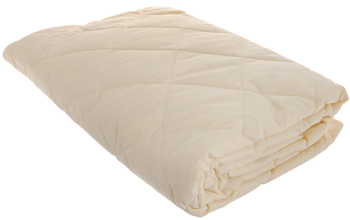 Наматрасник Легкие сны, наполнитель: овечья шерсть, 90 х 200 смЭ-ПР-02-34Наматрасник Легкие сны защитит ваш матрас от загрязнений, влаги и пыли, значительно продлевая срок его службы. В качестве наполнителя используется овечья шерсть. Шерсть овцы, благодаря волнистой структуре, хорошо сохраняет тепло и держит форму. Наматрасник, наполненный этим волокном, очень мягкий, легкий и обладает энергетикой натурального материала. Наличие в шерсти ланолина придает изделиям лечебно-профилактические свойства. Проникая в поры кожи, животный жир способствует уменьшению болей в спине. Такой наматрасник станет находкой для людей, страдающих радикулитом. Чехол изделия пошит из поликоттона, прочного и простого в уходе материала, не теряющего своих первоначальных свойств даже при частых стирках. Чехол простеган фигурной строчкой, поэтому наполнитель равномерно распределен внутри и не скатывается. Наматрасник фиксируется по углам при помощи эластичных лент, которые прочно удерживают изделие и не позволяют ему смещаться во время сна. Рекомендуется химчистка. Плотность наполнителя: 200 г/м2.