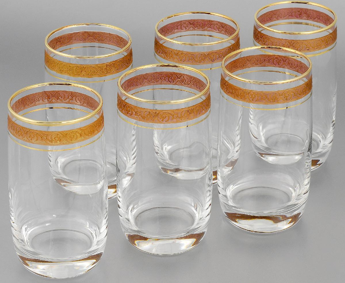 Набор стаканов для коктейлей Гусь-Хрустальный Махараджа, цвет: прозрачный, золотистый, розовый, 330 мл, 6 шт05С1262Набор Гусь-Хрустальный Махараджа состоит из 6 стаканов для коктейлей, изготовленных из высококачественного натрий-кальций-силикатного стекла. Изделия оформлены красивой зеркальной окантовкой и золотистым узором. Такой набор прекрасно дополнит праздничный стол и станет желанным подарком в любом доме. Разрешается мыть в посудомоечной машине. Диаметр стакана (по верхнему краю): 6 см. Высота стакана: 12,5 см.