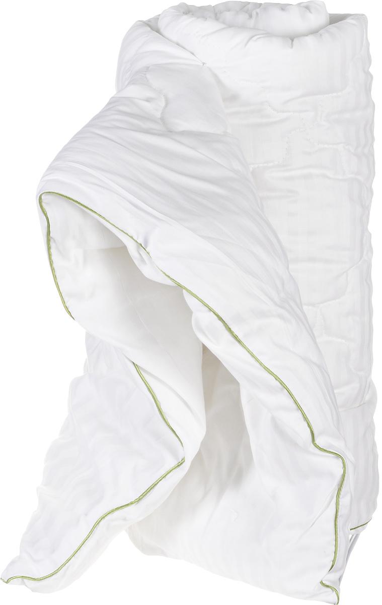Одеяло теплое Легкие сны Бамбоо, наполнитель: бамбуковое волокно, 140 х 205 см531-105Теплое 1,5-спальное одеяло Легкие сны Бамбоо с наполнителем из бамбука расслабит, снимет усталость и подарит вам спокойный и здоровый сон. Волокно бамбука - это натуральный материал, добываемый из стеблей растения. Он обладает способностью быстро впитывать и испарять влагу, а также антибактериальными свойствами, что препятствует появлению пылевых клещей и болезнетворных бактерий. Изделия с наполнителем из бамбука легко пропускают воздух, создавая охлаждающий эффект, поэтому им нет равных в жару. Они отличаются превосходными дезодорирующими свойствами, мягкие, легкие, простые в уходе, гипоаллергенные и подходят абсолютно всем. Чехол одеяла выполнен из сатина (100% хлопок). Одеяло простегано и окантовано. Стежка надежно удерживает наполнитель внутри и не позволяет ему скатываться. Одеяло можно стирать в стиральной машине. Плотность наполнителя: 300 г/м2.