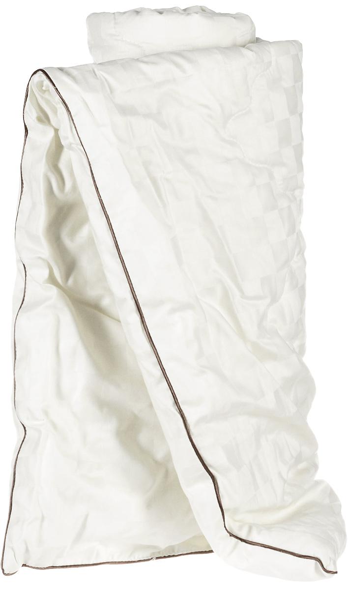 Одеяло легкое Легкие сны Милана, наполнитель: шерсть кашмирской козы, 140 x 205 см98299571Легкое стеганое одеяло Легкие сны Милана с наполнителем из шерсти кашмирской козы расслабит, снимет усталость и подарит вам спокойный и здоровый сон. Пух горной козы не содержит органических жиров, в нем не заводятся пылевые клещи, вызывающие аллергические реакции. Он очень легкий и обладает отличной теплоемкостью. Одеяла из такого наполнителя имеют широкий диапазон климатической комфортности и благоприятно влияют на самочувствие людей, страдающих заболеваниями опорно-двигательной системы.Шерстяные волокна, получаемые из чесаной шерсти горной козы, имеют полую структуру, придающую изделиям высокую износоустойчивость.Чехол одеяла, выполненный из сатина (100% хлопка), отлично пропускает воздух, создавая эффект сухого тепла.Одеяло простегано и окантовано. Стежка надежно удерживает наполнитель внутри и не позволяет ему скатываться. Плотность наполнителя: 200 г/м2.Рекомендации по уходу:Отбеливание, стирка, барабанная сушка и глажка запрещены.Разрешается деликатная химчистка.