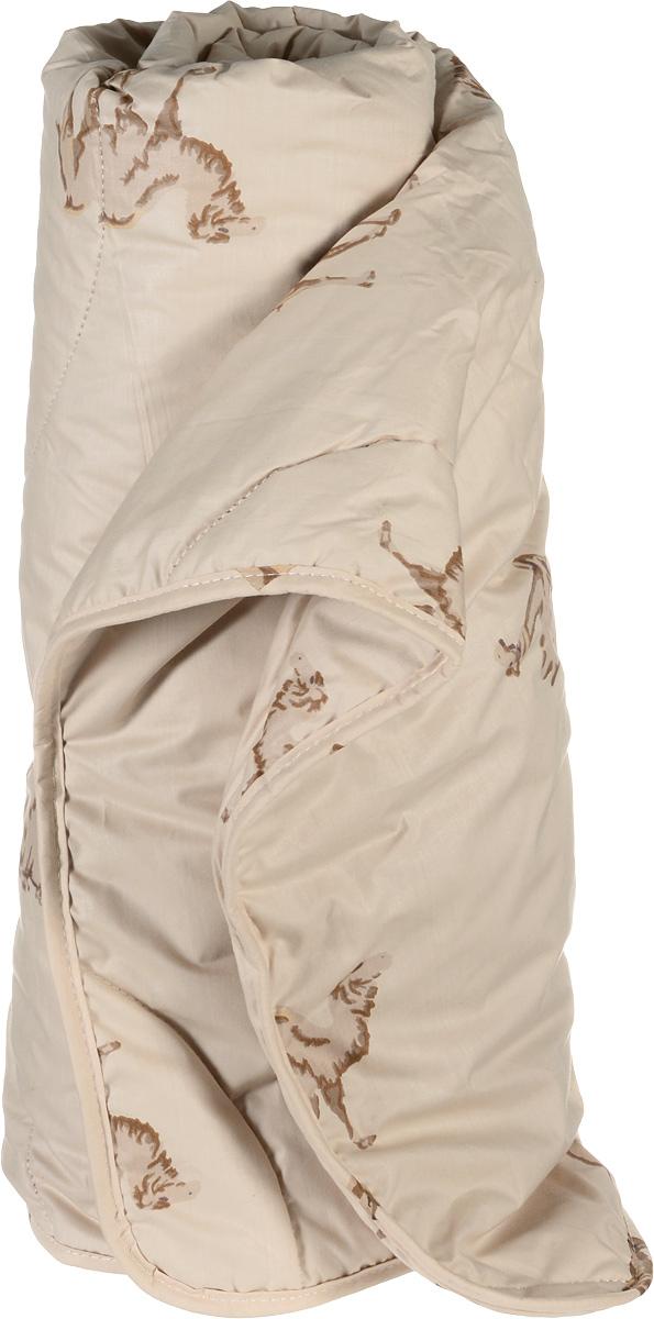 Одеяло легкое Легкие сны Верби, наполнитель: верблюжья шерсть, 172 х 205 смОВТ-15-3Легкое двуспальное одеяло Легкие сны Верби поможет расслабиться, снимет усталость и подарит вам спокойный и здоровый сон. Верблюжья шерсть, благодаря особенностям структуры волокон, обладает высокой гигроскопичностью и дает сухое тепло, полезное людям с заболеваниями опорно-двигательного аппарата. Содержащийся в ней ланолин обладает антибактериальными и антистатическими свойствами. Поэтому одеяла из верблюжьей шерсти не накапливают пыль и не вызывают аллергии. Они очень теплые и практичные. Чехол одеяла выполнен из прочного тика с изображением верблюдов. Это натуральная хлопчатобумажная ткань, отличающаяся высокой плотностью, она устойчива к проколам и разрывам, а также отличается долговечностью в использовании. Легкое одеяло Верби идеально подойдет для прохладных весенних и летних ночей. Небольшая толщина одеяла, чехол из натуральной хлопковой ткани обеспечивают хорошую циркуляцию воздуха, позволяя коже дышать и не допуская перегрева. Одеяло простегано и окантовано. Стежка надежно удерживает наполнитель внутри и не позволяет ему скатываться. Под нежным и мягким одеялом вам приснятся только сказочные сны. Рекомендуется химчистка. Плотность наполнителя: 200 г/м2.