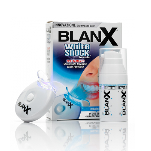 Blanx Отбеливающий уход + световой активатор Blanx whith shock treatment + Led BiteУТ000001233Уникальное средство интенсивного отбеливание на основе ActiluX® без пероксида, Средство Blanx White Shock и Blanx LEDBite могут использоваться ежедневно вместо обычной зубной пасты. Мгновенно заметный результат после первого применения. Захватывает всю область зубов.