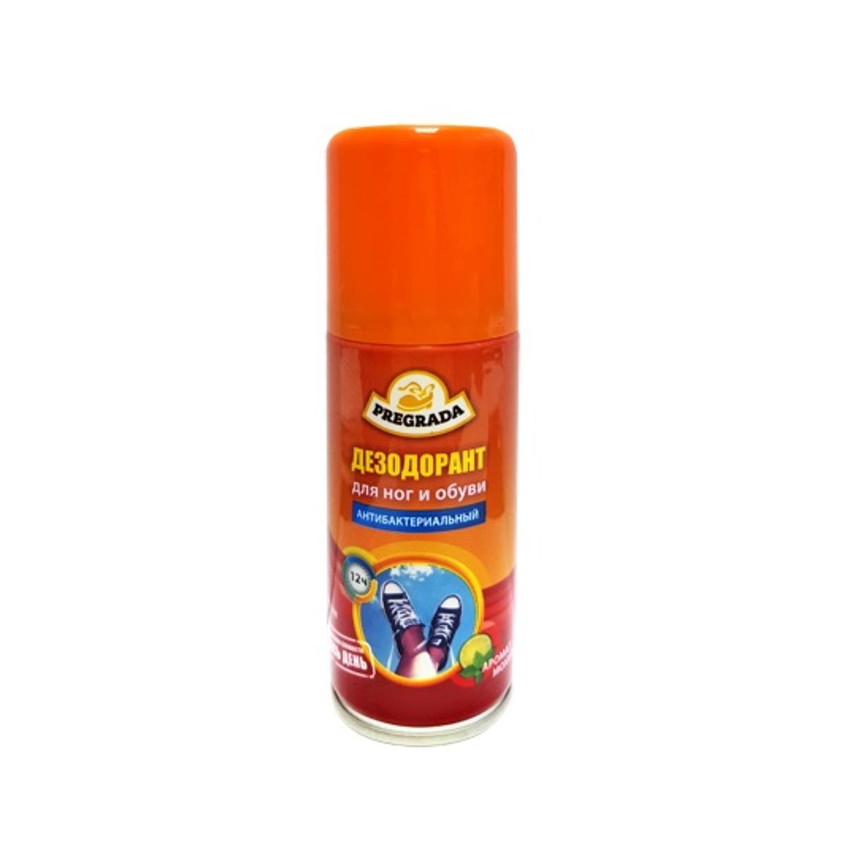 Аэрозоль дезодорант для ног и обуви Pregrada Защита от запахаMW-3101Pregrada универсальный дезодорант для ног и обуви АНТИБАКТЕРИАЛЬНЫЙ 100мл с приятным запахом мохито превосходно нетрализует неприятные запахи. Обеспечивает защиту ног и обуви от запаха на целый день! Противомикробное действие компонентов защищает от возникновения грибковых инфекций. Идеально подходит для занятий спортом и активного отдыха.Способ применения: Перед употреблением встряхнуть баллон . Распылять на чистую и сухую кожу стоп. Уделите особое внимание местам между пальцами ног, где расположены источники пота. Распылить на внутреннюю поверхность обуви, дать высохнуть. Рекомендуется повторять процедуру до и после ношения. Меры предосторожности:Беречь от детей! Огнеопасно! Хранить в сухом прохладном месте вдали от прямых солнечных лучей. Состав: пропан, бутан, изобутан , растворитель ,пропиленгликоль, триклозан ,парфюмерная композиция