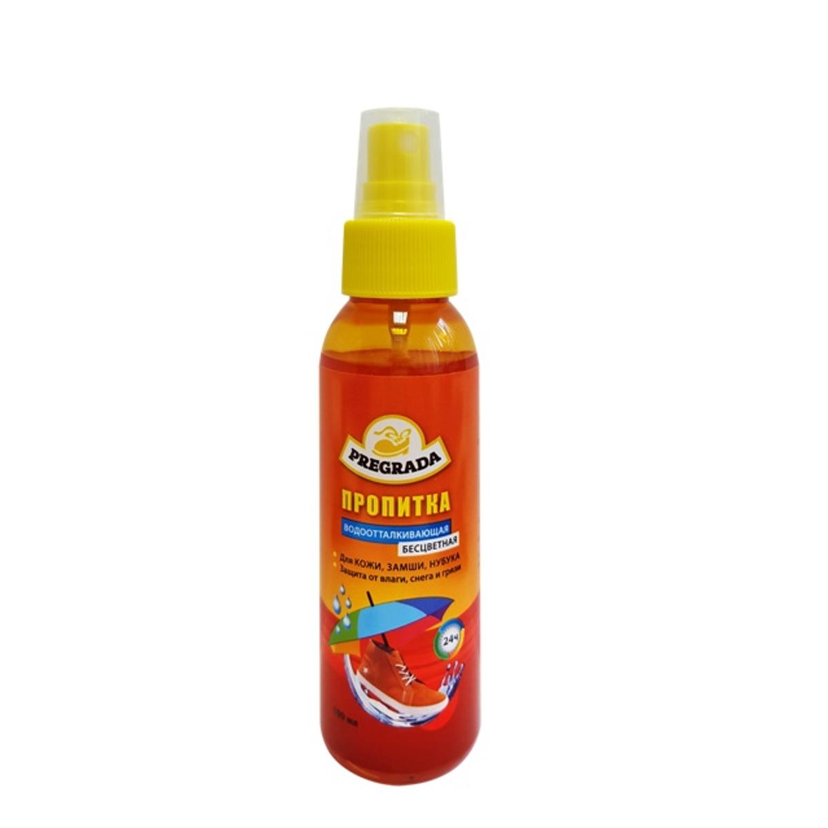Спрей-водоотталкивающая пропитка Pregrada для кожи, замши, нубука660830Pregrada водоотталкивающая пропитка для кожи, замши, нубука 100мл . Средство для защиты от воды изделий из гладкой кожи, замши, нубука. Обеспечивает длительную защиту от влаги, снега и грязи.Способ примененияОчистите поверхность изделия. При необходимости нанесите средство по уходу за обувью (крем или краску). Перед применением проверьте на незаметном месте изделия. Встряхните флакон. Интенсивно нанесите средство с расстояния 20-25 см, держа флакон вертикально, распылителем вверх. Для максимального эффекта дайте высохнуть в течении нескольких часов. В сырую и влажную погоду рекомендуется ежедневное применение. Не использовать для лаковых и искуственных кож. Меры предосторожности:Беречь от детей! Огнеопасно! Хранить в сухом прохладном месте вдали от прямых солнечных лучей.