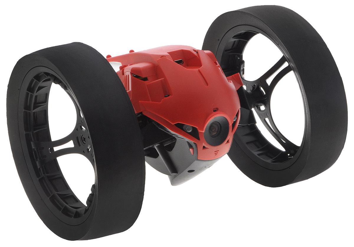 """Вездеход на радиоуправлении Parrot """"Max Jumping Race Drone"""" оснащен мощным электромотором, который способен недолгое время работать в режиме повышенной производительности. Благодаря этому устройство способно ускоряться до 13 км/ч, что соответствует скорости бега человека. Широкие колеса с мягкими резиновыми накладками обеспечивают превосходную устойчивость и проходимость гаджета. Даже крупные предметы и лестничные пролеты не будут препятствием для движения робота. Встроенный пружинный механизм позволяет ему подпрыгивать на высоту до 75 см. Управление вездеходом осуществляется с помощью приложения FreeFlight 3.0 на вашем смартфоне. Камера, установленная в передней части робота, передает изображение на смартфон в режиме реального времени. За счет этого удается значительно облегчить управление устройством в любой ситуации. Кроме того, пользователь может создавать видеозаписи, чтобы отправить их друзьям или поделиться с подписчиками в социальных сетях...."""