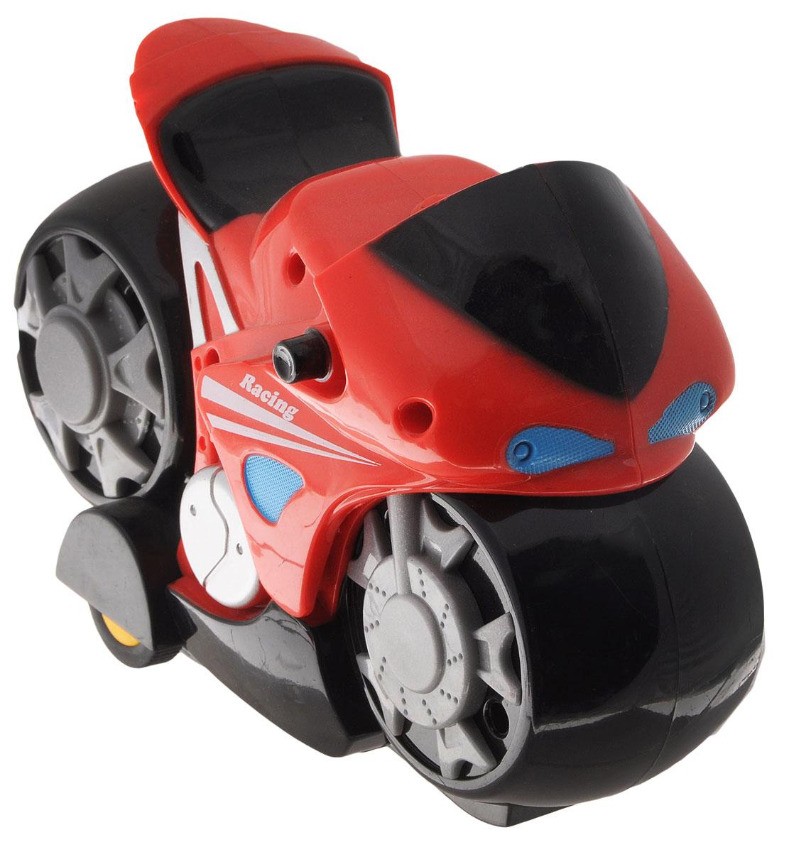 """Мотоцикл на радиоуправлении Mioshi """"Мотокросс"""" - это очень интересная и занимательная игрушка. Выполнена в ярком дизайне из прочных и безопасных материалов. Мотоцикл оснащен подсветкой и звуковыми эффектами. Такая игрушка поможет малышу развить цветовое восприятие, мелкую моторику рук, координацию движений, фантазию и воображение. Мотоцикл разнообразит игровые ситуации и откроет малышу новые сюжеты. Не упустите шанс порадовать своего ребенка замечательным подарком! Для работы мотоцикла необходимо купить 3 батарейки типа АА (не входят в комплект). Для работы пульта управления необходимо купить 2 батарейки типа АА (не входят в комплект)."""