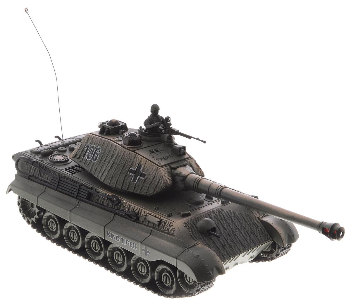 """Танк на радиоуправлении Balbi """"The King Tiger"""" понравится не только малышам, но и взрослым любителям военной техники. Игрушка, выполненная из безопасного и прочного пластика с элементами из металла, воспроизводит легендарную модель немецкого танка """"The King Tiger"""" в масштабе 1:28. Танк может двигаться вправо, влево, вперед и назад, а также разворачиваться на месте и преодолевать подъемы под углом 45 градусов. Угол вращения башни до 280 градусов, а ствол пушки перемещается вверх и вниз. На башне танка имеется световой индикатор жизней - вы можете устроить настоящее танковое сражение, при помощи инфракрасного наведения целясь в башню вражеского танка. После попадания на боевой машине гаснет один индикатор жизни. Бой заканчивается, когда на одном из танков гаснут все индикаторы жизни. Танковый бой возможен при наличии у вас минимум двух боевых танков. В танковом бое могут участвовать до четырех танков. Танк оснащен звуковыми эффектами: во время сражения раздаются реалистичные звуки..."""