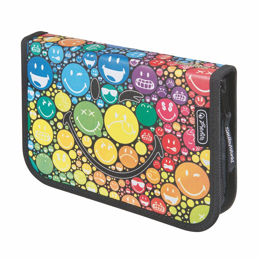 Herlitz Пенал Smileyworld Rainbow11437928Пенал пустой Smileyworld Rainbow, размеры 20,3x13,5x3,5 cm. Материал полиэстер, прочный кант, жесткая обложка.