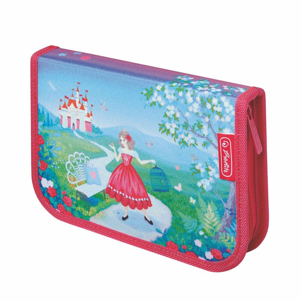 Herlitz Пенал Princess Rosa11438629Пенал с наполнением Herlitz Princess Rosa выполнен из прочного материала и закрывается на застежку-молнию.Удобный, вместительный, с оригинальным и ярким дизайном пенал. наполнен полезными для вашей школьницы предметами: 1 шариковой ручкой, 2 чернографитными карандашами, 8 цветными карандашами, 14 фломастерами, линейкой и угольником, ластиком и точилкой, расписанием уроков на русском языке и личными данными ученика. Состоит из одного вместительного отделения и двух откидных створок.Этот пенал станет не только практичным, но и стильным школьным аксессуаром для любого ребенка.