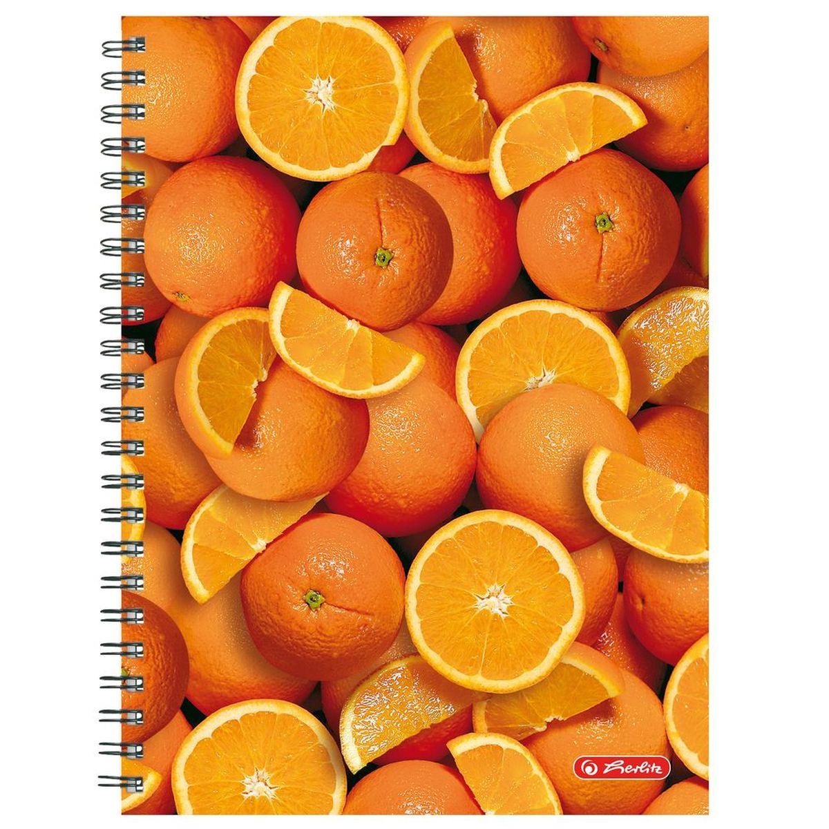 Herlitz Тетрадь Апельсины 70 листов в клетку формат А439503Удобная тетрадь Herlitz Апельсины - незаменимый атрибут современного человека, необходимый для рабочих или школьных записей.Тетрадь содержит 70 листов формата А4 в клетку без полей со внутренней разделительной полосой. Обложка выполнена из качественного ламинированного картона с ярким фруктовым дизайном. Внутренний спиральный блок изготовлен из металла и гарантирует надежное крепление листов.Тетрадь для записей Herlitz Апельсины станет достойным аксессуаром среди ваших канцелярских принадлежностей. Это отличный подарок как коллеге или деловому партнеру, так и близким людям.