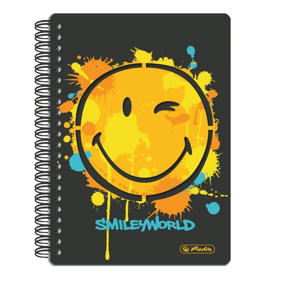 Herlitz Блокнот Smiley World 100 листов в клетку формат А511364536Удобный блокнот Herlitz Smiley World - незаменимый атрибут современного человека, необходимый для рабочих или школьных записей.Блокнот содержит 100 листов формата А5 в клетку без полей. Обложка выполнена из качественного ламинированного картона. Внутренний спиральный блок изготовлен из металла и гарантирует надежное крепление листов. Блокнот имеет закругленные углы и яркийдизайн, дополненный желтым смайлом.Блокнот для записей от Herlitz Smiley World станет достойным аксессуаром среди ваших канцелярских принадлежностей. Это отличный подарок как коллеге или деловому партнеру, так и близким людям.
