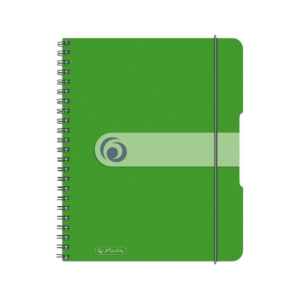 Herlitz Блокнот Easy Orga To Go 80 листов в клетку формат А5 цвет зеленый72523WDУдобный блокнот Herlitz Easy Orga To Go - незаменимый атрибут современного человека, необходимый для рабочих или школьных записей.Блокнот содержит 80 листов формата А5 в клетку без полей. Обложка выполнена из качественного полипропилена. Внутренний спиральный блок изготовлен из металла и гарантирует надежное крепление листов. Блокнот имеет закругленные углы и нежный дизайн бордового цвета.Блокнот для записей Herlitz Easy Orga To Go станет достойным аксессуаром среди ваших канцелярских принадлежностей. Это отличный подарок как коллеге или деловому партнеру, так и близким людям.