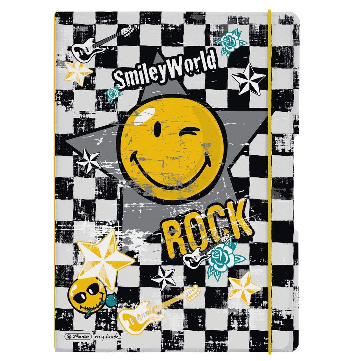 """Herlitz Блокнот my.book Flex Smiley Rock 80 листов в клетку/линейку72523WDКомбинируемый блокнот от Herlitz my.book Flex Smiley Rock подойдет для любого случая: в университете, в школе, дома или в офисе. Получите ежедневную дозу Рок н ролла с новой дизайнерской серией Smiley World! Клевые и прикольные смайлы, «шахматный» дизайн, а также различные детали рок-культуры, такие как гитары или розы, стилизованные под тату, привлекут внимание любого подростка.Благодаря разным бумажным сменным блокам, а также эластичным резинкам и креплению блокнот my.book всегда остается уникальным и разнообразным. С помощью наборов эластичных резинок вы можете немного менять внешний вид своего блокнота my.book flex каждый день. При желании вы можете просто продолжать использовать свою любимую обложку, потому что с бумажными блоками всегда есть, где писать.Пластиковый блокнот my.book flex завоюет ваше сердце. Пластиковая версия блокнота формата A4 имеет еще одно преимущество: уникальная система """"2-в-1"""". В отличие от обычных блокнотов, эта версия позволяет использовать одновременно бумажные блоки в клетку и в линейку. Утомительная необходимость носить за собой разные блокноты и тетради ушла в прошлое."""