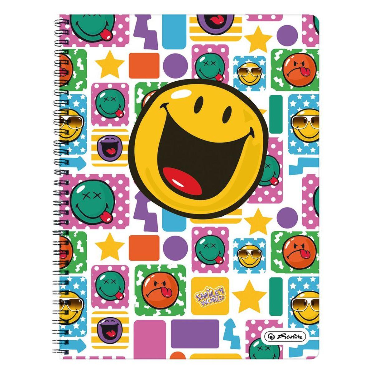 Herlitz Тетрадь Smiley Happy 70 листов в клетку100Ткм5B1сп_13051Удобная тетрадь от Herlitz Smiley Happy - незаменимый атрибут современного человека, необходимый для рабочих или школьных записей.Тетрадь содержит 70 листов формата А4 в клетку с полями. Обложка выполнена из качественного ламинированного картона. Внутренний спиральный блок изготовлен из металла и гарантирует надежное крепление листов. Тетрадь имеет закругленные углы и яркий дизайн, дополненный желтым смайлом.Тетрадь Herlitz Smiley Happy станет достойным аксессуаром среди ваших канцелярских принадлежностей. Это отличный подарок как коллеге или деловому партнеру, так и близким людям.