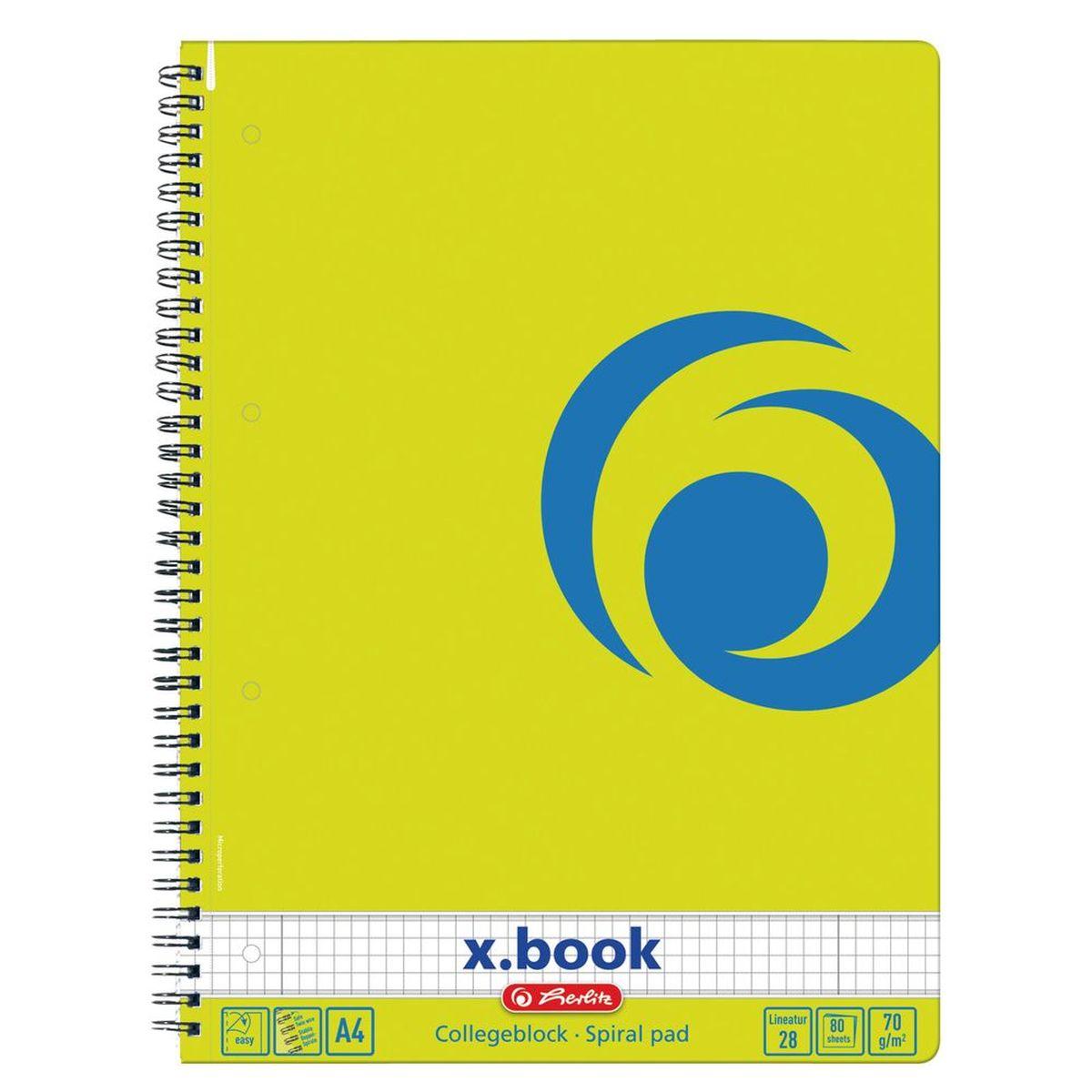 Herlitz Блокнот x.book Лимон 80 листов в клеткуEHD-NB01Блокнот Herlitz серии x.book - ваш идеальный партнер для дома и отдыха. Благодаря разнообразию форм в четырех форматах от А4 до А7, x.book пригодится в любой ситуации и поднимет настроение благодаря веселым расцветкам, например, солнечный желтый, яркий красный, сочный зеленый и сияющий синий.Блокнот содержит 80 листов формата А4 в клетку с полями. Обложка выполнена из качественного ламинированного картона. Внутренний спиральный блок изготовлен из металла и гарантирует надежное крепление листов.Блокнот для записей от Herlitzстанет достойным аксессуаром среди ваших канцелярских принадлежностей. Это отличный подарок как коллеге или деловому партнеру, так и близким людям.