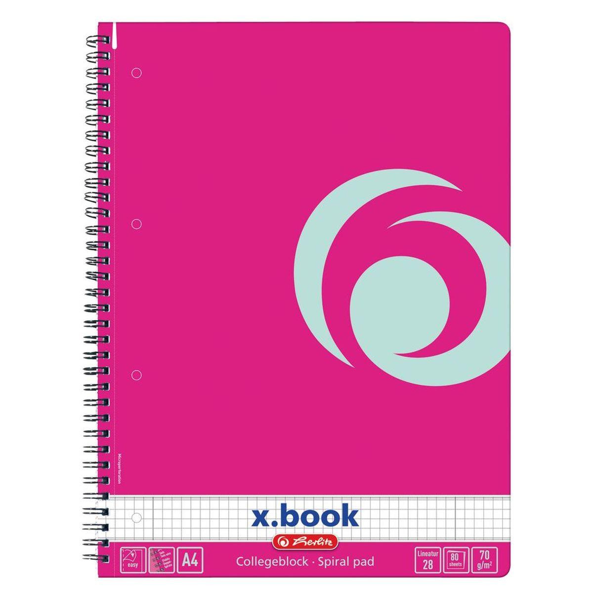 Herlitz Блокнот формат А4 80 листов цвет розовый72523WDБлокнот формат А4, евроспираль, микроперформация страниц, 80л, кл., роз.