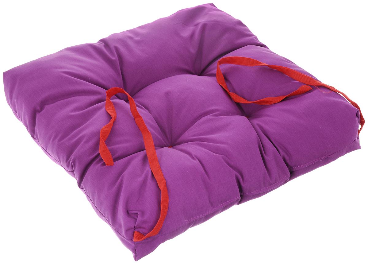 Подушка на стул Eva, объемная, цвет: светло-фиолетовый, 40 х 40 смVT-1520(SR)Подушка Eva, изготовленная из хлопка, прослужит вам не один десяток лет. Внутри - мягкий наполнитель из полиэстера. Стежка надежно удерживает наполнитель внутри и не позволяет ему скатываться. Подушка легко крепится на стул с помощью завязок. Правильно сидеть - значит сохранить здоровье на долгие годы. Жесткие сидения подвергают наше здоровье опасности. Подушка с наполнителем из полиэстера поможет предотвратить многие беды, которыми грозит сидячий образ жизни.