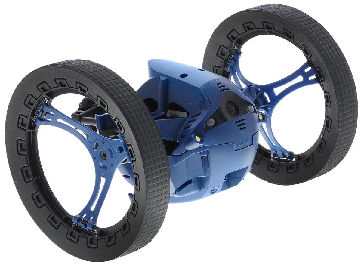 """Вездеход на радиоуправлении Parrot """"Diesel Jumping Night Drone"""" оснащен крупными колесами и мягкими резиновыми накладками, которые обеспечивают превосходную проходимость этого игрового гаджета. Благодаря применению мощного электромотора и современной трансмиссии он может разгоняться до 7 км/ч, что сопоставимо со скоростью быстрой ходьбы человека. Никаких препятствий. Даже ступеньки и крупные предметы не станут помехой для робота, поскольку он может подпрыгивать на высоту до 80 сантиметров. Управление устройством осуществляется с помощью приложения FreeFlight 3.0 на вашем смартфоне. Два мощных светодиода обеспечивают эффективную подсветку пространства, позволяя использовать его даже в полной темноте. Устройство оснащено камерой, которая передает изображение на смартфон в режиме реального времени. Благодаря этому значительно облегчается управление роботом при отсутствии прямой видимости. Кроме того, пользователь может создавать оригинальные видео, чтобы отправлять их друзьям или..."""