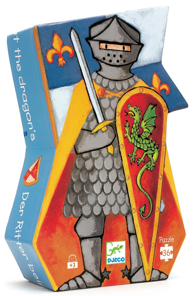 Djeco Пазл для малышей Рыцарь и дракон подушки декоративные t&i подушка лен бордо 45х45см пуговицы