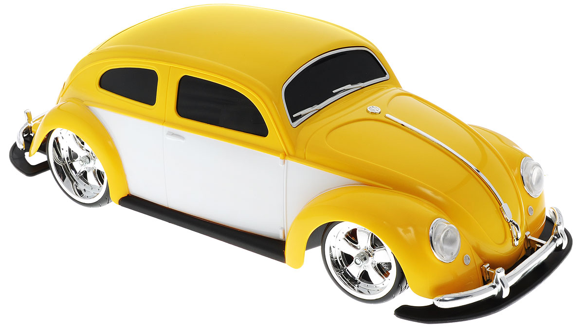 """Радиоуправляемая модель Maisto """"Volkswagen Beetle"""" желтого цвета является точной уменьшенной копией настоящего автомобиля в масштабе 1:10. Модель выполнена из прочных материалов, шины выполнены из резины. Машинка при помощи пульта управления движется вперед, дает задний ход, поворачивает влево и вправо, останавливается. С помощью пульта управления также можно контролировать свет передних и задних фар (выключение, ближний свет, дальний свет). Модель развивает хорошую скорость и обладает высокой стабильностью движения, что позволяет полностью контролировать процесс, управляя уверенно и без суеты. Пульт управления имеет три частоты, что позволяет одновременно управлять 2-3 моделями. Такая машинка станет отличным подарком не только любителю автомобилей, но и человеку, ценящему оригинальность и изысканность, а качество исполнения представит такой подарок в самом лучшем свете. Машина работает от сменного аккумулятора (входит в комплект). Пульт управления работает от батарейки типа..."""