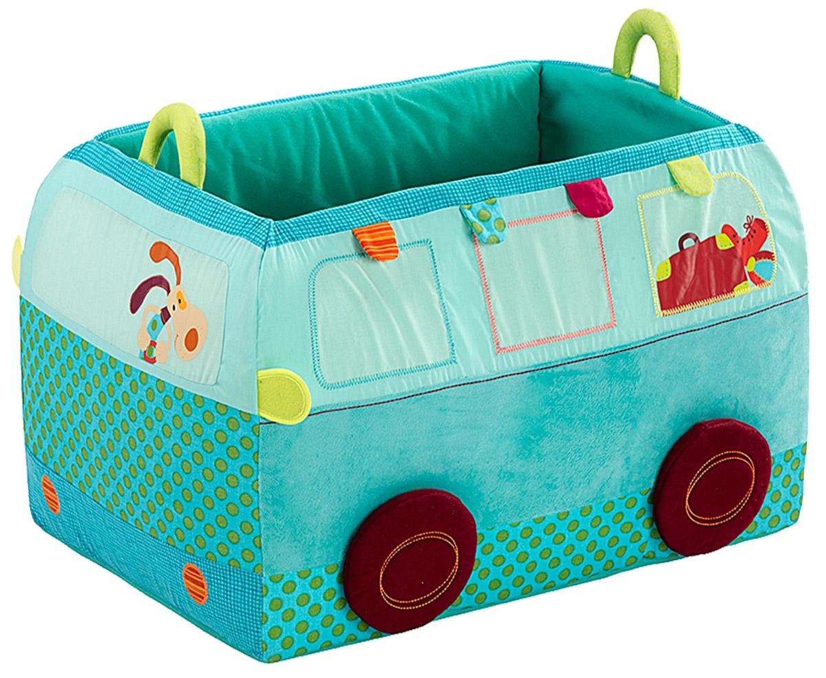 Lilliputiens Корзина для игрушек Собачка ДжефR3061В ящике для игрушек Lilliputiens Собачка Джеф не только удобно хранить все свои вещи, но он также сможет украсить комнату любого ребенка.В этом большом ящике в форме автобуса все игрушки будут в целости и сохранности. Корзина дополнена удобными ручками и выполнена из прочных материалов.После целого дня веселья и игр пора навести в комнате порядок. Это будет конечная остановка в комнате для Джефа и его автобуса!