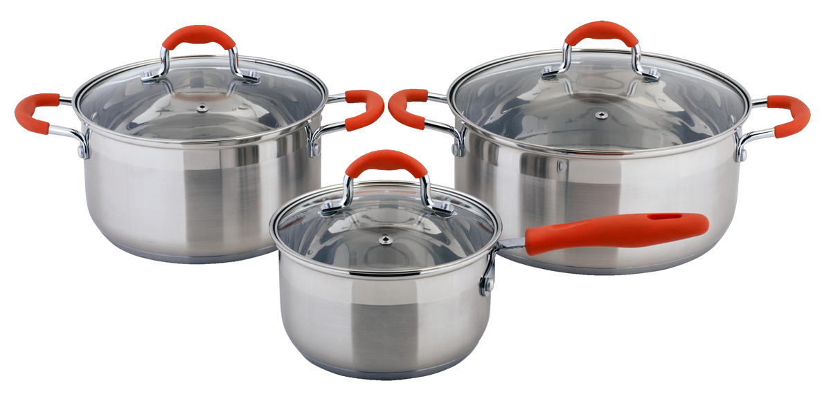 Набор посуды Esprado Tezoro, 6 предметов54 009312Набор посуды Esprado Tezoro состоит из ковша с крышкой и двух кастрюль с крышками. Изделия выполнены из специальной высококачественной нержавеющей пищевой стали. Матовая полировка внешнего покрытия придает посуде эстетичный стильный вид. Трехслойное термоаккумулирующее дно с прослойкой из алюминия обеспечивает наилучшее распределение тепла. Ручки, оснащенные силиконовыми накладками, не перегреваются во время приготовления пищи. Крышки, выполненные из термостойкого стекла, позволяют следить за процессом приготовления пищи. Они снабжены отверстиями для выхода пара и стальным ободом. Посуда предназначена для здорового и экологичного приготовления пищи. Внутренняя гладкая поверхность легко чистится - можно мыть в воде руками или протирать полотенцем. Также на внутренней стороне изделий имеется шкала литража.Подходит для всех типов плит, включая индукционные. Не предназначена для СВЧ-печей. Можно мыть в посудомоечной машине. Подходит для хранения пищи в холодильнике.Объем кастрюль: 5 л; 3,5 л.Диаметр кастрюль (по верхнему краю): 20 см; 24 см.Высота стенок кастрюль: 11,5 см.Объем ковша: 1,9 л.Диаметр ковша (по верхнему краю): 16 см.Высота стенок ковша: 9,5 см.