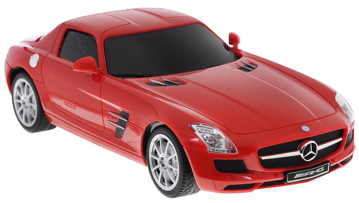 """Все мальчишки любят мощные крутые тачки! Особенно если это дорогие машины известной марки, которые, проезжая по улице, обращают на себя восторженные взгляды пешеходов. Радиоуправляемая модель TopGear """"Mercedes-Benz SLS"""" - это детальная копия существующего автомобиля в масштабе 1:18. Машинка изготовлена из прочного легкого пластика; колеса прорезинены. При движении передние и задние фары машины светятся. При помощи пульта управления автомобиль может перемещаться вперед, дает задний ход, поворачивает влево и вправо, останавливается. Встроенные амортизаторы обеспечивают комфортное движение. В комплект входят машинка и пульт управления. Автомобиль отличается потрясающей маневренностью и динамикой. Ваш ребенок часами будет играть с моделью, устраивая захватывающие гонки. Для работы машины необходимо докупить 4 батарейки напряжением 1,5V типа АА (не входят в комплект). Для работы пульта управления необходимо докупить 2 батарейки напряжением 1,5V типа АА..."""