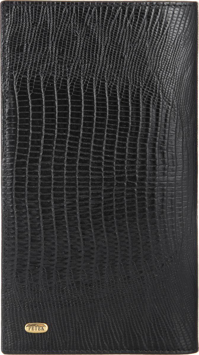 Портмоне мужское Petek 1855, цвет: черный. 244.041.01BM8434-58AEСтильное мужское портмоне Petek 1855 выполнено из натуральной кожи с декоративным фактурным тиснением под кожу рептилии, оформлено металлической фурнитурой с символикой бренда.Изделие закрывается клапаном, внутри содержит: отделение для купюр, три кармашка для мелких документов, семь карманов для пластиковых карт и два сетчатых кармана.Изделие упаковано в коробку из плотного картона с логотипом фирмы.Такое практичное портмоне станет отличным подарком для человека, ценящего качественные и необычные вещи.